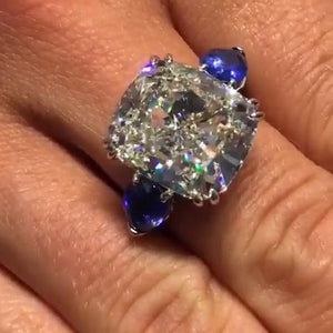 4.5 CT Cushion Cut Lab-created Diamond Engagement Ring with Blue Sapphire Sidestone