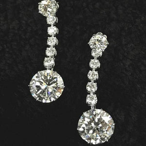 2.5 CT Round Brilliant Lab-created White Sapphire Earrings in Sterling Silver