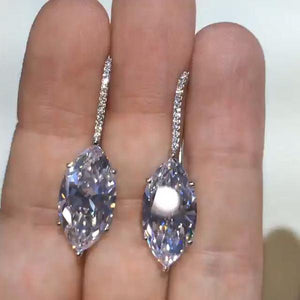 2.15 CT Marquise Cut Lab-create White Sapphire Dangle Earrings