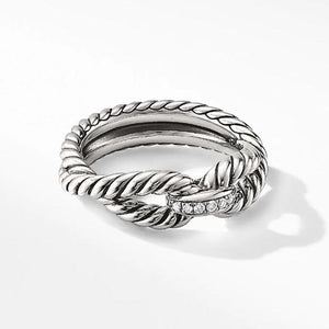 0.2 CT Lab Created White Sapphire Twisted Ring in Sterling Silver