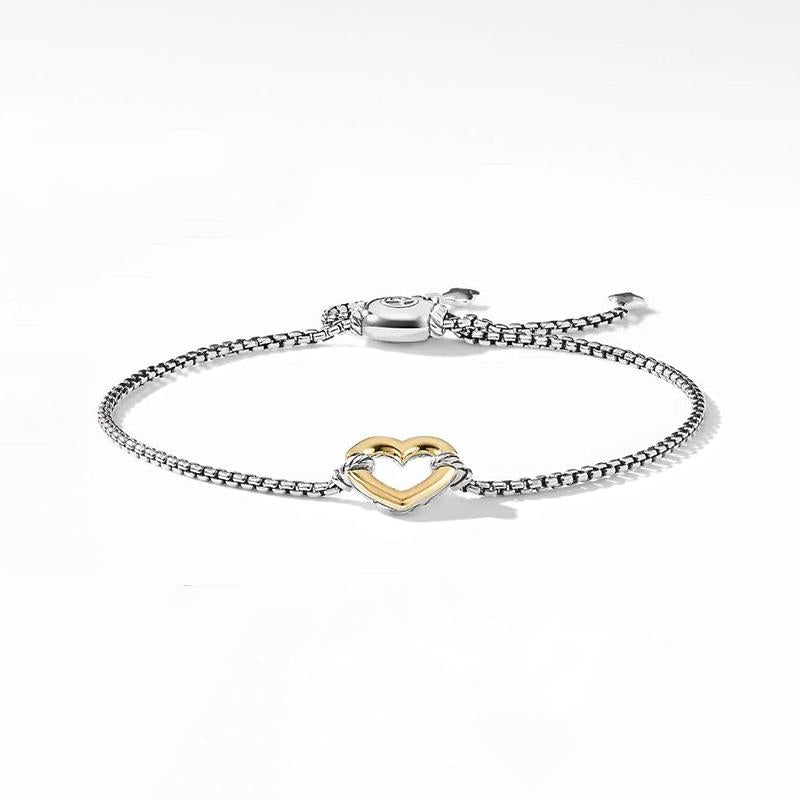 Two Tone Heart Design Bolo Bracelet in Sterling Silver