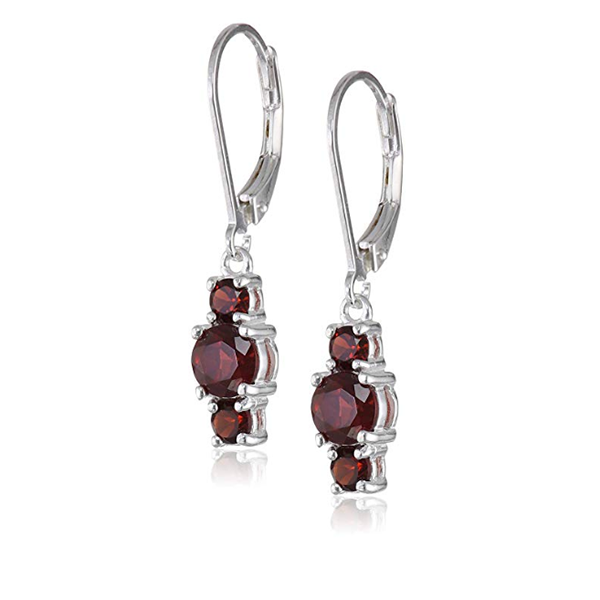 2.50 CT Three Stone Round Cut Ruby  Lab Created Sapphire Dangle Earrings in Sterling Silver