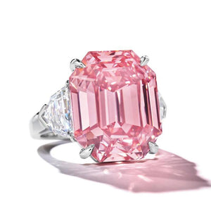 10 CT Imitation of Pink Legancy Lab Created Pink Sapphire Three Stone Engagement Ring in Sterling Silver