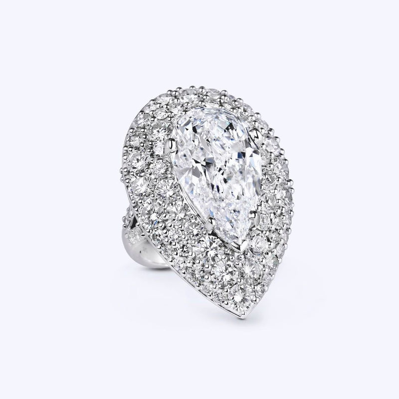 Bling Bling 2.82 CT Pear Shape Lab-created Diamond Sterling Silver Engagement Ring