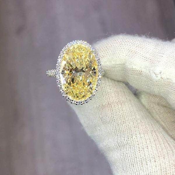 8.23 CT Oval Cut Lab-created  Fancy Yellow Sapphire Sterling Silver Engagement Ring