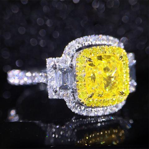 Lab-Created Yellow Sapphire 4CT T.W. Asscher Cut Halo Engagement Ring in Sterling Silver