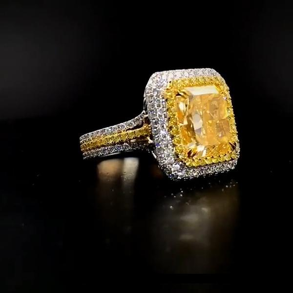 4.2 CT Cushion Cut Yellow Sapphire Halo Sterling Silver Engagement Ring