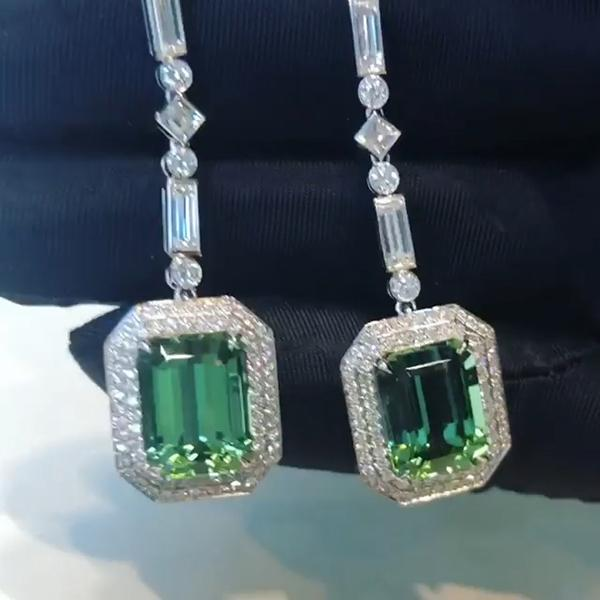 8 CT Emerald Cut Lab-created Green Sapphire Long Dangle Ring in 925 Sterling Silver