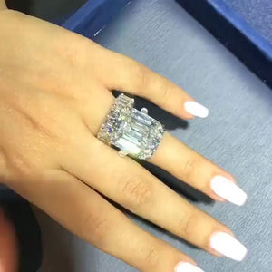 12.0 CT. T.W.  Emerald Cut Created White Sapphire Wedding Set In Sterling Silver