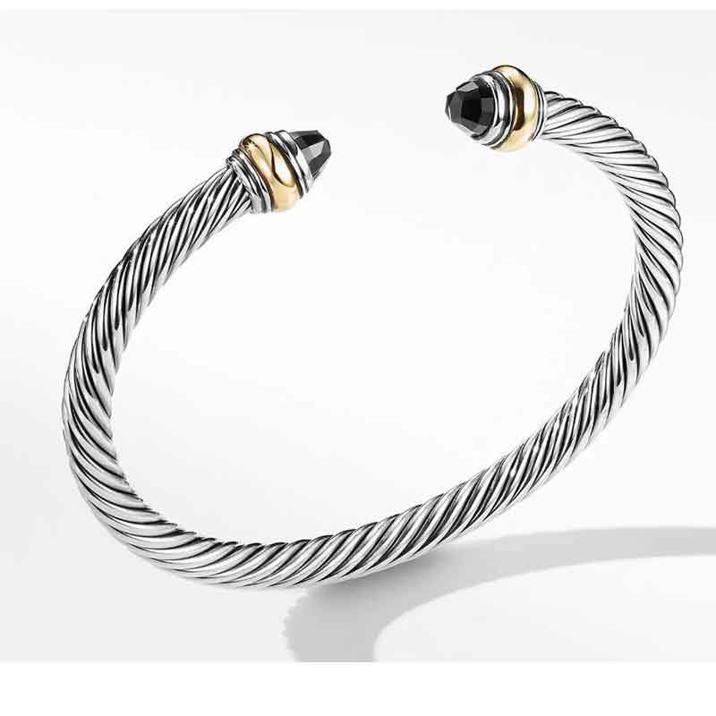 Cable Classic Bracelet with Black Onyx and 14K Gold, 5mm