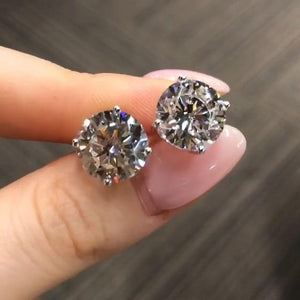 Stunning 3.5Ct Per Each Round Cut Sterling Silver Dimond Ear Studs