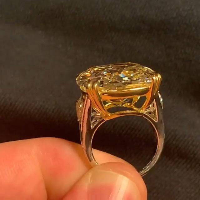 4.5 CT Cushion Cut Yellow Sapphire Engagement Ring in Sterling Silver