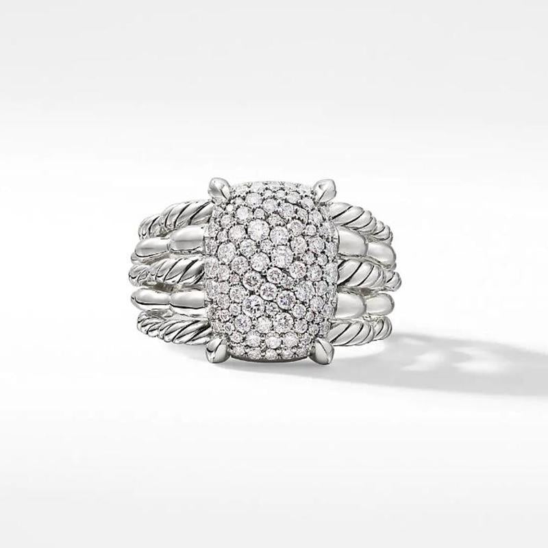 0.92 CT.T.W Statement Ring with Pavé Diamond
