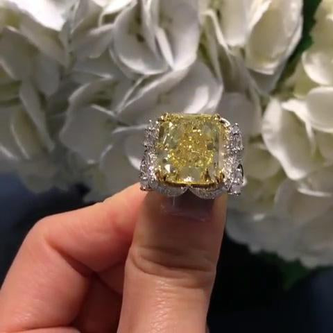 4 CT Radiant Cut  Fancy Yellow Sapphire Engagement Ring in Sterling Silver
