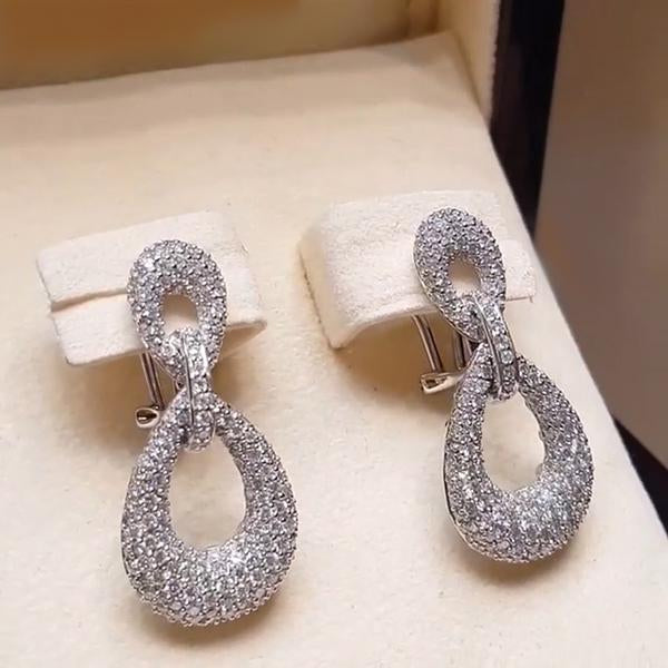 2.5 CT Stuning Brilliant Diamond Drop Earring in 925 Sterling Silver