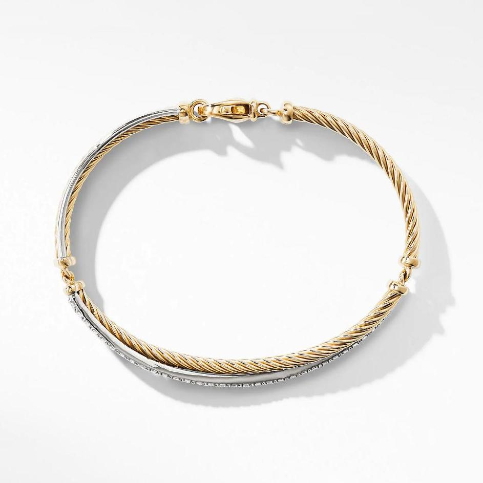 Crossover Bracelet with Diamonds With Yellow Gold Tone