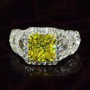 16 CT Fancy Yellow Sapphire Engagement Ring with Unique Shape Sided Diamonds