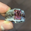 24 CT Emerald Cut Pink Center Stone Sterling Silver Ring