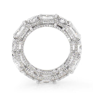 4.0 CT Round Cut and Radiant Cut Lab Created White Sapphire Eternity Ring in Sterling Silver