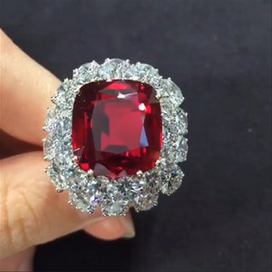14 CT Double Halo Ruby Ring in 925 Sterling Silver