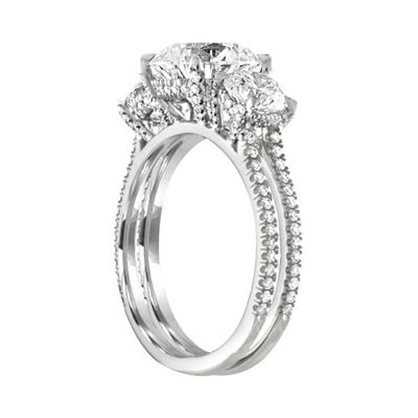 5.10 CT Round  Cut Lab Created White Sapphire With Diamonds Engagement Ring In 925 Sterling Silver