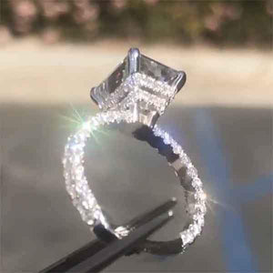 6.5 CT Stunning Brilliant Radiant Cut Halo Sterling Silver Engagement Ring