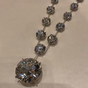 Luxury Round Brilliant Lab-created Diamond Necklace in Sterling Silver