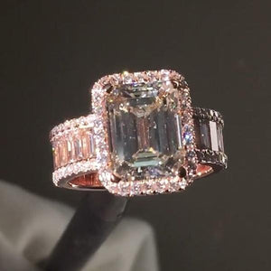 5.50 CT Emerald Cut Rose Gold Tone Sterling Silver Engagement Ring
