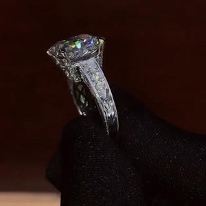 Stunning Brilliant 8 CT Radiant Cut Lab-created Diamond Halo Sterling Silver Engagement Ring