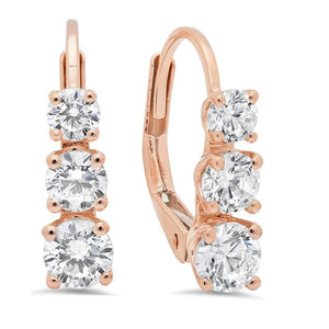 2.5 CT Round Cut 3 Stones Bridesmaid Earrings
