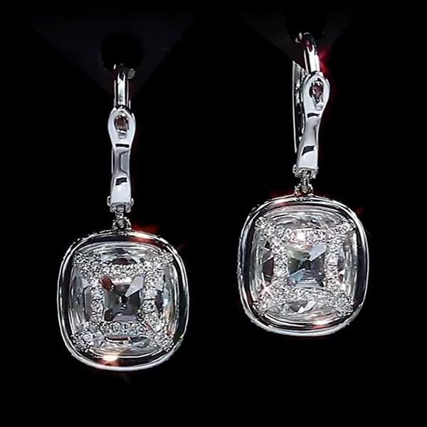 3.50 CT Cushion Cut Lab Created White Sapphire Dangle Earrings in Sterling Silver