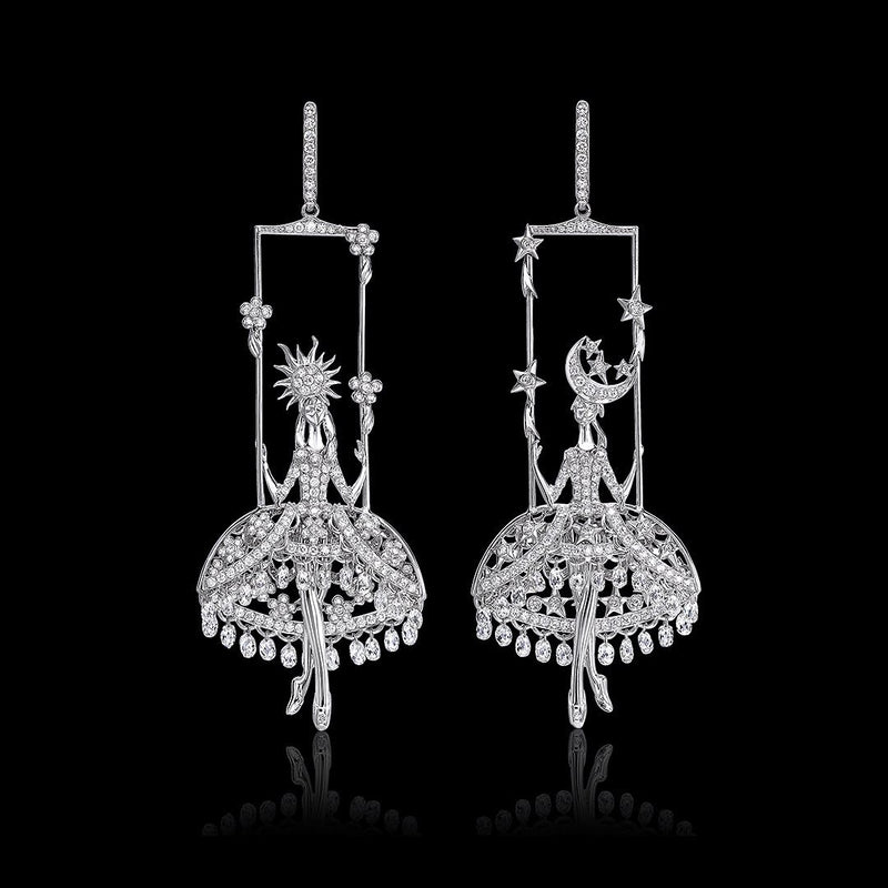 Double star ballet earrings