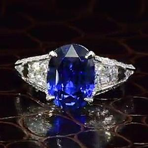 Unique 15 CT Oval Shape Blue Sapphire Sterling Silver Ring