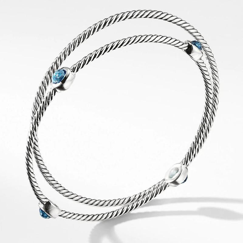 1.5 CT Lab Created Aquamarine Rope Design Bracelet in Sterling Silver