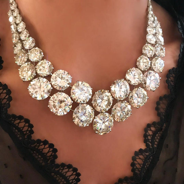 Luxurious Double Strand Shinning Round Lab-created Diamond Necklace Collar Necklace