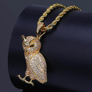 Bling  Bling  Gold  Owl  Pendant  Chain  Necklace  In   Stainless Steel