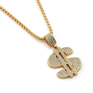 Hip Hop Bling Bling  Dollar Sign Pendant Necklace