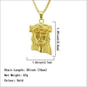 Fashion Hip hop Jesus Bling pendant Necklace in Yellow Gold