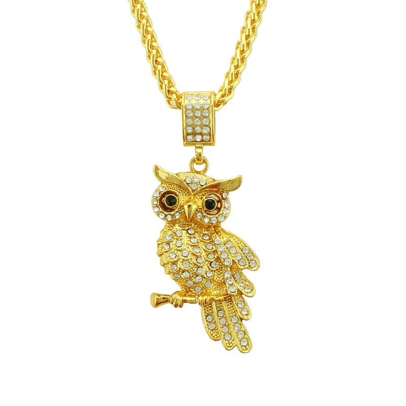 Hip Hop 3D Owl Bling Pendant Chain Necklace