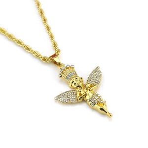 Hip Hop Bling Bling Crown Angel Pendant Chain Necklace