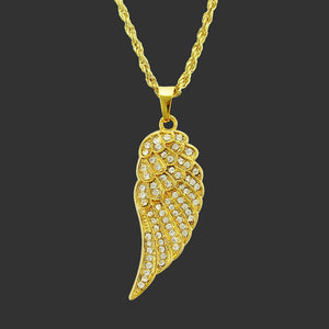 Hip Hop Angel Wings Pendant Chain Necklace