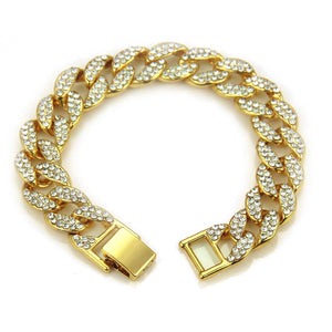 Men Fashion Cuban Chain Hip Hop Bling Bracelet