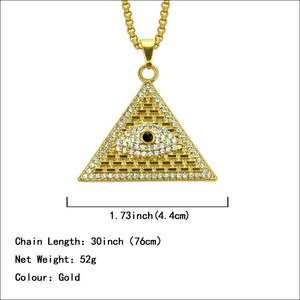 Gold Tone Evil Eye Pyramid Shape Pendant Chain Necklace