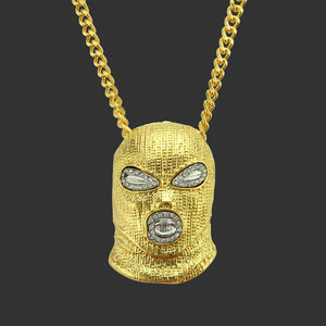 Creative Head mask Hip Hop Bling Pendant Necklace In Yellow Gold