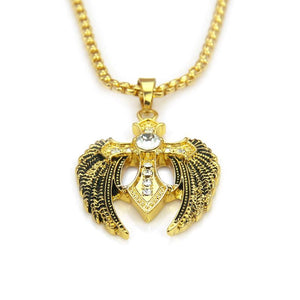 Super Bling Hip Hop  Cross Wings Pendant Chain Necklace