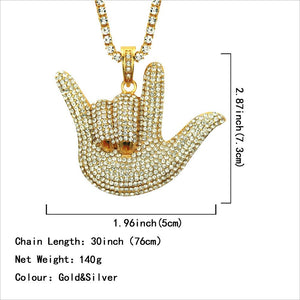 Men Fashion Hip Hop Diamond Pendant Necklace Creative Gesture Necklace In Yellow Gold
