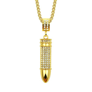 Creative Rebellious Bullet Hip Hop Bling Pendant Necklace