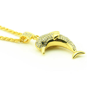 Creative Cute Dolphin Shape Hip Hop Bling Pendant Necklace