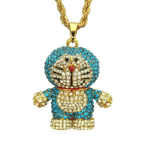 Bling Bling Hip Hop Anime Cartoon Machine Cat Pendant Chain Necklace