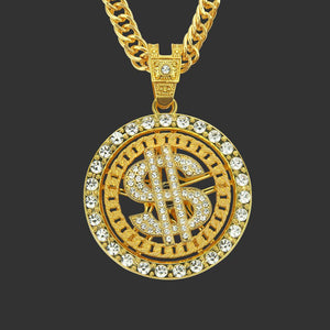 Rotatable  Dollar  Sign  Shape Gold Tone Hip Hop Bling Bling Pendant Cuban Chain Necklace